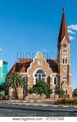 Windhoek, Namibia - May 17, 2011: View Of The Historic Christuskirche, A Lutheran Church In Windhoek