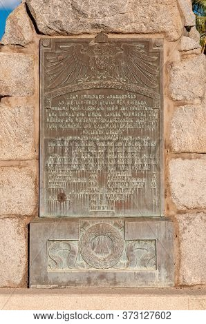 Windhoek, Namibia - May 17, 2011: Plaque At The Equestrian Rider Monument From The German Era In Win