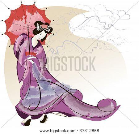 Geisha In Pink Kimono