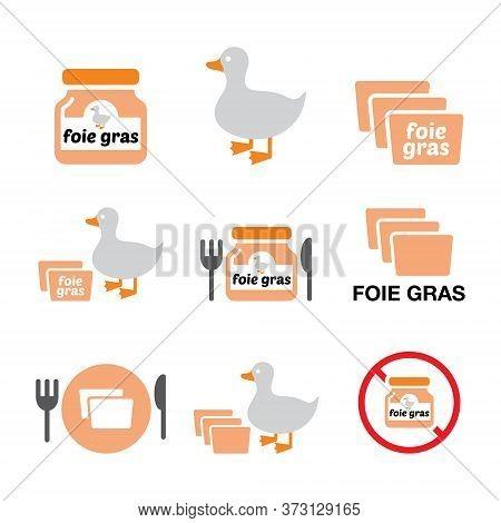 Foie Gras, Duck Or Goose Vector Color Icons Set - Food, Restuarant Industry