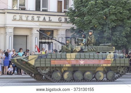 Donetsk, Donetsk People Republic, Ukraine, June 24, 2020: A Column Of Soviet Military Equipment With