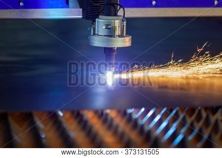 Cnc Plasma Cutting Machine Cuts Metal, Sparks Are Cherished From The Cutting Point