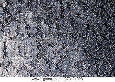 Blue Lace Texture. Lace Background. Romantic Fabric.
