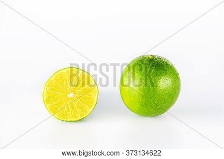 Lime Fruit Slice Isolated On White Background.