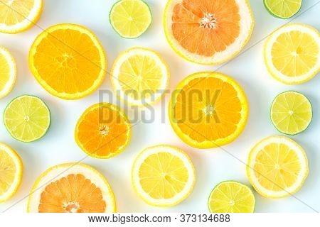 Collection Of Fresh Lime, Lemon, Orange, Citrus, Grapefruit Slice On White Background.