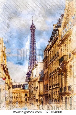 View Of Parisian Street With The Eiffel Tower In The Clearance. Sketch Illustration.