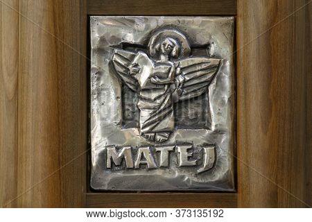 ZAGREB, CROATIA - MAY 11, 2013: Symbol of Saint Matthew the Evangelist, Church of the Assumption of the Virgin Mary in Remete, Zagreb, Croatia