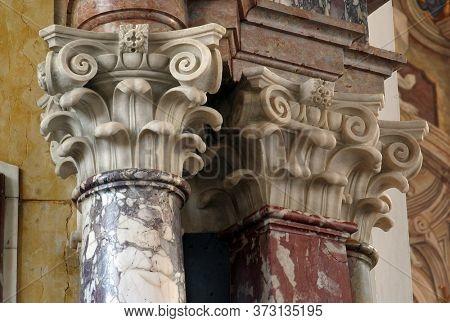 ZAGREB, CROATIA - MAY 16, 2013: Pillar on the altar of St. Ignatius of Loyola in the Church of Saint Catherine of Alexandria in Zagreb, Croatia