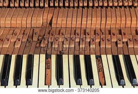 An Old And Forgotten Piano In A City Park. The View Of The Broken Keyboard And The Hammer Mechanism
