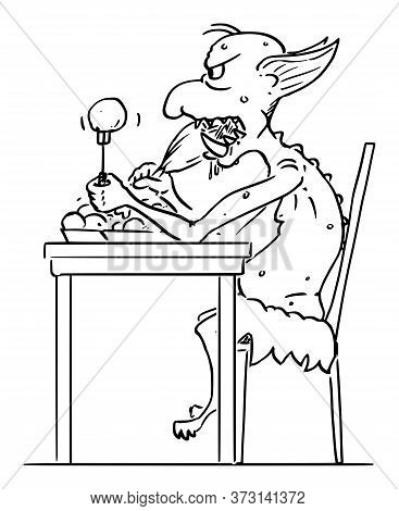 Vector Cartoon Stick Figure Drawing Conceptual Illustration Of Virtual Internet Troll Eating Food. D