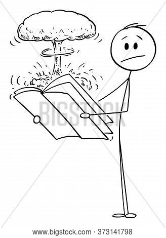 Vector Cartoon Stick Figure Drawing Conceptual Illustration Of Shocked Man Reading Surprising Explos
