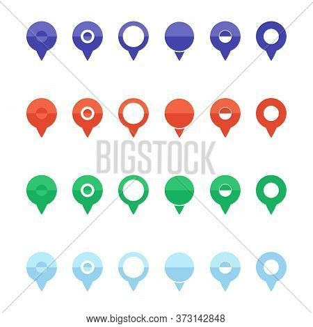Pins For Map, Location Symbol, Geo Symbol Position Element And Travel Place Pointe Vector Illustrati