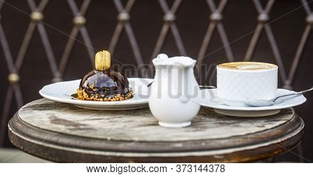 Cappuccino In A Cup, Hot Latte, Delicious Coffee. Coffe Time. Coffee Or Coffe Cup At Cafe In The Mor