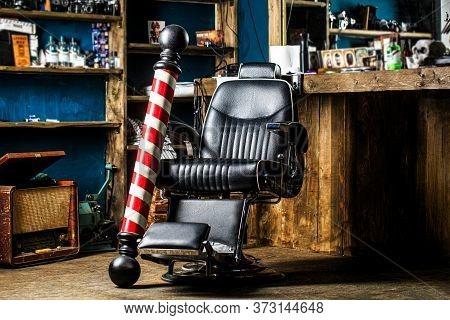 Hairstylist In Barbershop Interior. Barber Shop Chair. Barbershop Armchair, Salon, Barber Shop For M