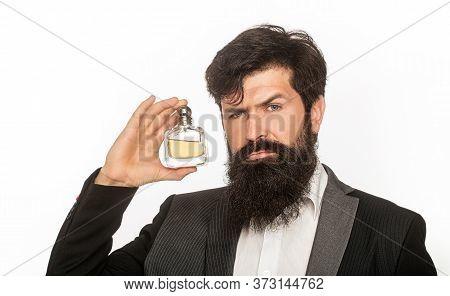 Perfume Or Cologne Bottle, Perfumery, Cosmetics, Scent Cologne Bottle, Male Holding Cologne. Masculi