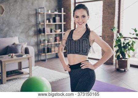 Photo Of Beautiful Cheerful Homey Lady Coach Quarantine Hobby Training Stay Home Video Blog Healthy