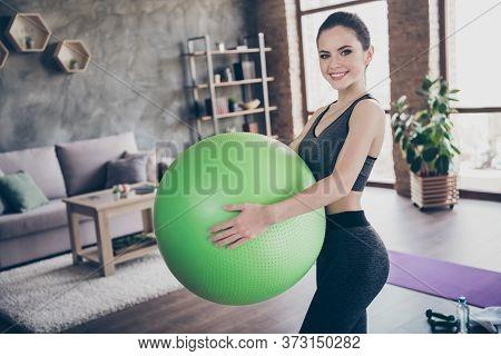 Photo Of Beautiful Cheerful Homey Coach Lady Quarantine Hobby Training Stay Home Recording Video Blo