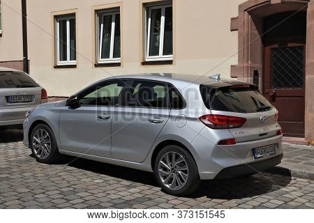 Nuremberg, Germany - May 7, 2018: Silver Hyundai I30 Compact Car Parked In Germany. There Were 45.8