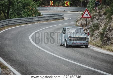 Skradin Croatia, June 2020 Simple Grey Old Timer Modified For Hill Climb Racing Up Hill, Going Throu