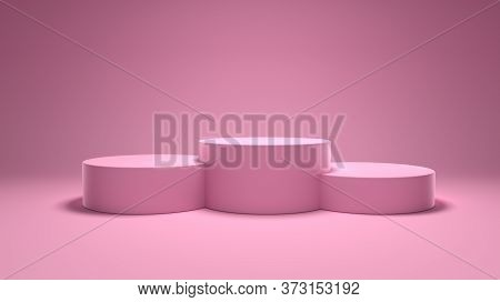 Winners Podium, Pedestal Pink Background, Award Podium. 3d Rendering Illustration.