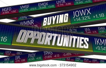 Buying Opportunities Low Priced Stocks Shares Market Values 3d Illustration