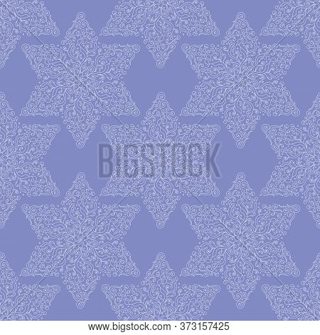 Seamless Pattern. White Six-pointed Stars, Snowflakes On A Blue Background. Ornate Scrollwork. Hand