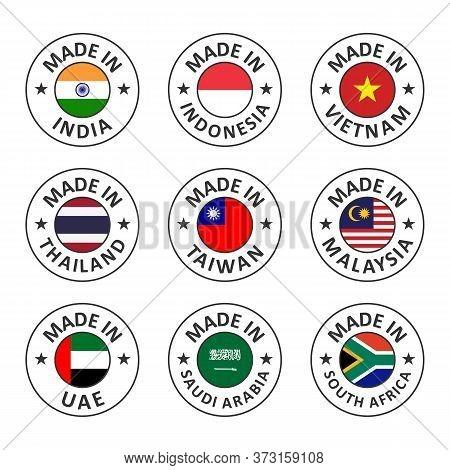 Vector Icon Set Made In India, Indonesia, Vietnam, Thailand, Taiwan, Malaysia, Uae, Saudi Arabia And