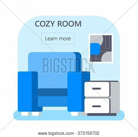 Cozy Room Concept Vector For Web, App. Apartment, Hostel Booking Illustration In Flat Style. Chair A