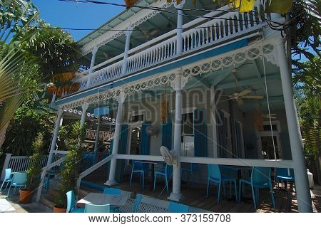 Key West, Florida, Usa - 6th April 2009 : Beautiful View Of A Victorian Style House Veranda Located