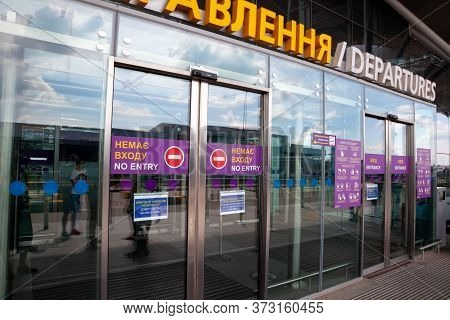 Boryspil, Ukraine - Ojune 22, 2020: A Poster About Wearing Masks And Maintaining Distance During The