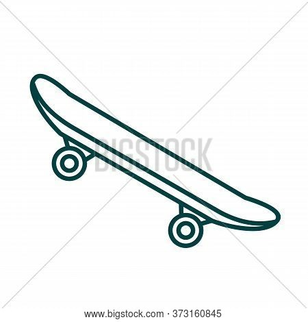 Side Modern Skateboard Icon. Outline Side Modern Skateboard Vector Icon For Web Design Isolated On W