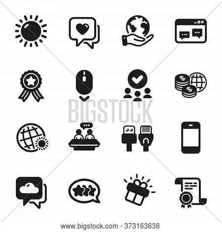Set Of Business Icons, Such As Employees Talk, Computer Cables. Certificate, Approved Group, Save Pl