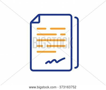 Document Signature Line Icon. Agreement Doc File Sign. Office Note Symbol. Colorful Thin Line Outlin