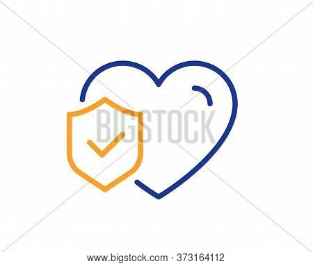 Life Insurance Line Icon. Health Coverage Sign. Protection Policy Symbol. Colorful Thin Line Outline