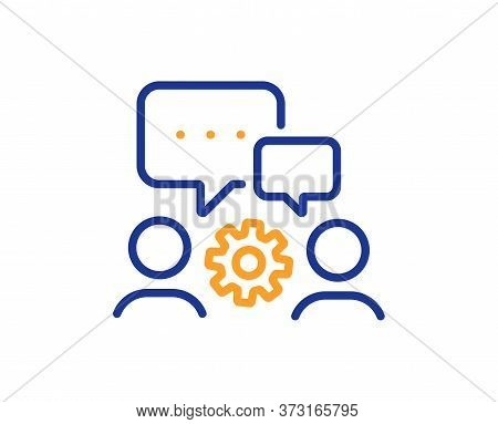 Engineering Team Line Icon. Engineer Or Architect Group Sign. Working Process Symbol. Colorful Thin