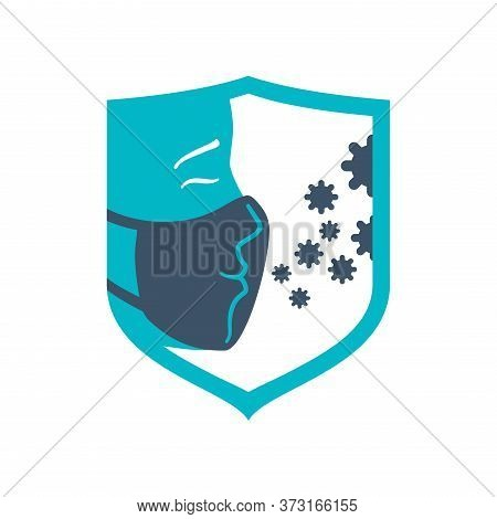Respiratory Mask Icon  - Mouth Guard That Blocking Dangerous Viruses Transmitted By Airborne Droplet