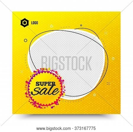 Super Sale Badge. Yellow Banner Template. Discount Banner Shape. Coupon Bubble Icon. Social Media Ba
