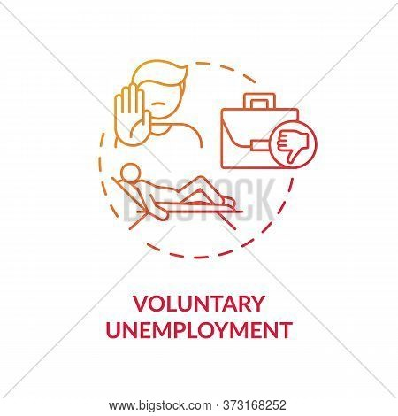 Voluntary Unemployment Red Gradient Concept Icon. Human Resource Issue. Crisis In Workforce. Person