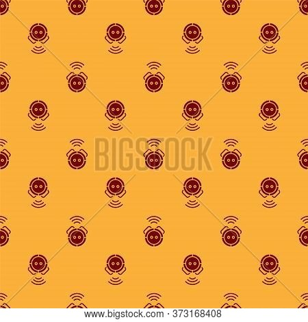 Red Robot Vacuum Cleaner Icon Isolated Seamless Pattern On Brown Background. Home Smart Appliance Fo