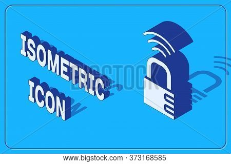 Isometric Smart Safe Combination Lock Icon Isolated On Blue Background. Combination Padlock. Securit