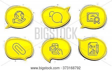 Paper Clip Sign. Diploma Certificate, Save Planet Chat Bubbles. Messenger Mail, Messenger And Report