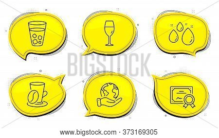Ice Tea Sign. Diploma Certificate, Save Planet Chat Bubbles. Water Drop, Coffee Cup And Wineglass Li