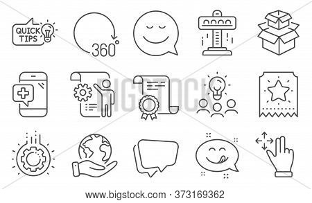 Set Of Technology Icons, Such As Smile, Medical Phone. Diploma, Ideas, Save Planet. Attraction, Move