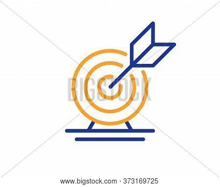 Target Goal Line Icon. Success Arrow Sign. Business Aim Symbol. Colorful Thin Line Outline Concept.