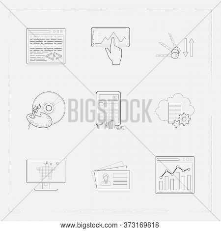 Set Of Webdesign Icons Line Style Symbols With Graphic Designer Software, Raster Art, Business Card