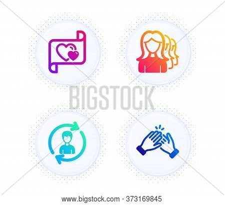 Human Resources, Love Letter And Women Headhunting Icons Simple Set. Button With Halftone Dots. Clap