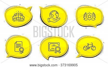 Arena Stadium Sign. Diploma Certificate, Save Planet Chat Bubbles. Certificate, Bicycle And Laureate