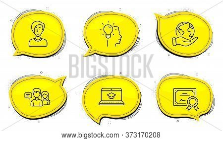 Idea Sign. Diploma Certificate, Save Planet Chat Bubbles. Website Education, People Talking And Busi