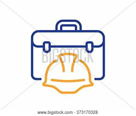 Construction Toolbox Line Icon. Architect Portfolio Sign. Engineer Case Symbol. Colorful Thin Line O