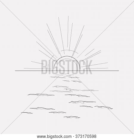 Sunset In The Sea Icon Line Element. Vector Illustration Of Sunset In The Sea Icon Line Isolated On